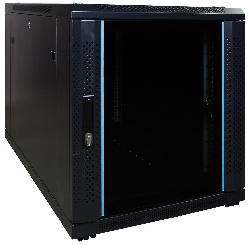 Afbeelding van 12U mini Patchkast met glazen deur 600x1000x635mm (BxDxH)