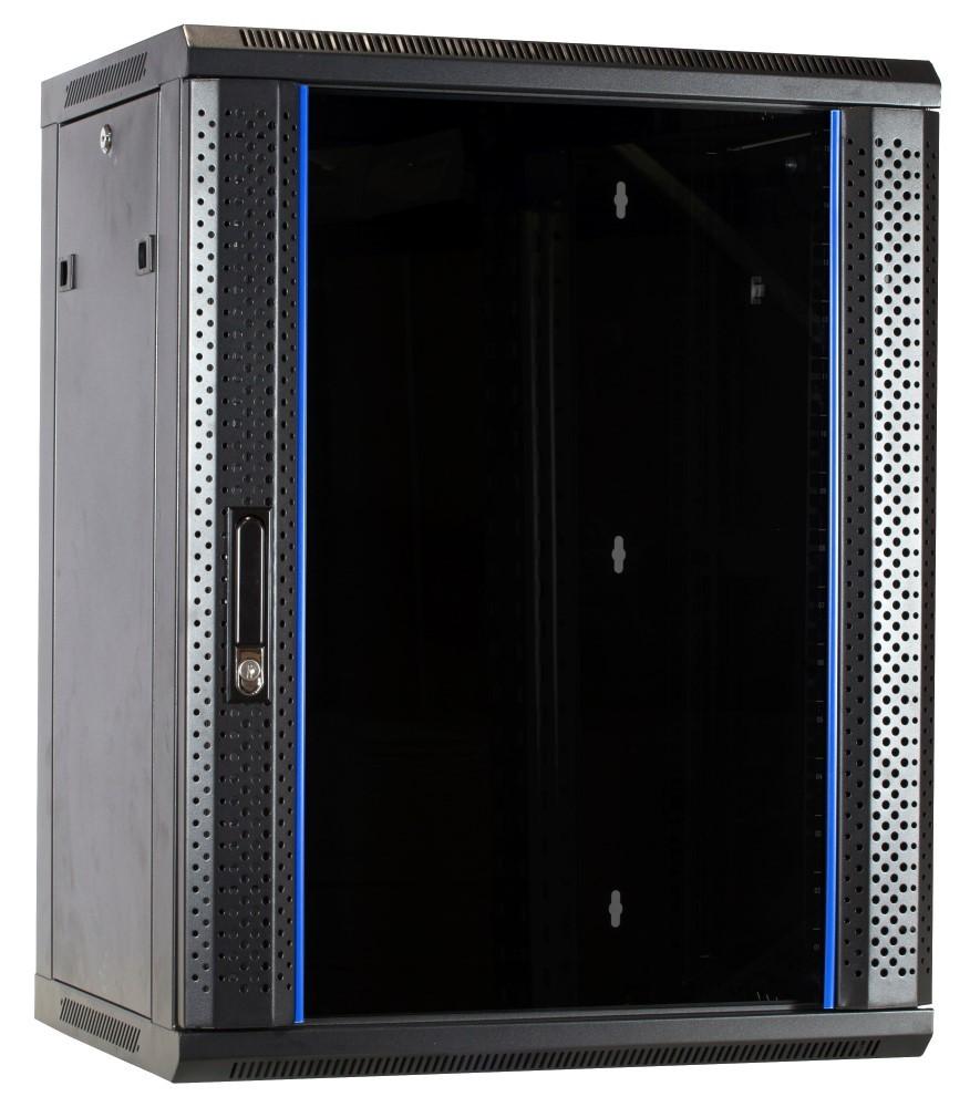 Afbeelding van 15U Wandkast ongemonteerd met glazen deur 600x450x770mm