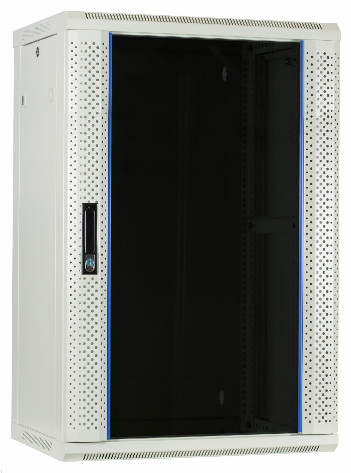 Afbeelding van 18U Witte Wandkast met glazen deur 600x450x900mm