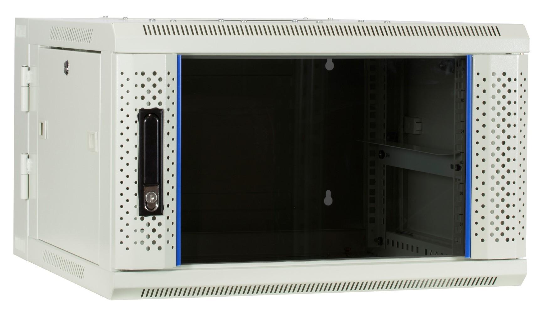 Afbeelding van 6U witte wandkast - kantelbaar met glazen deur 600x600x368mm
