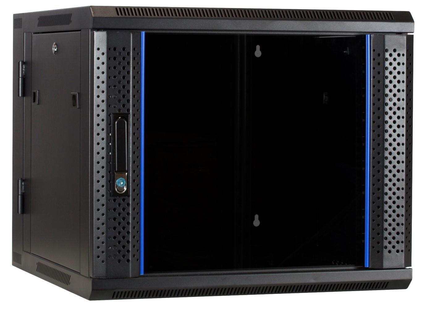 Afbeelding van 9U wandkast - kantelbaar met glazen deur 600x600x500mm