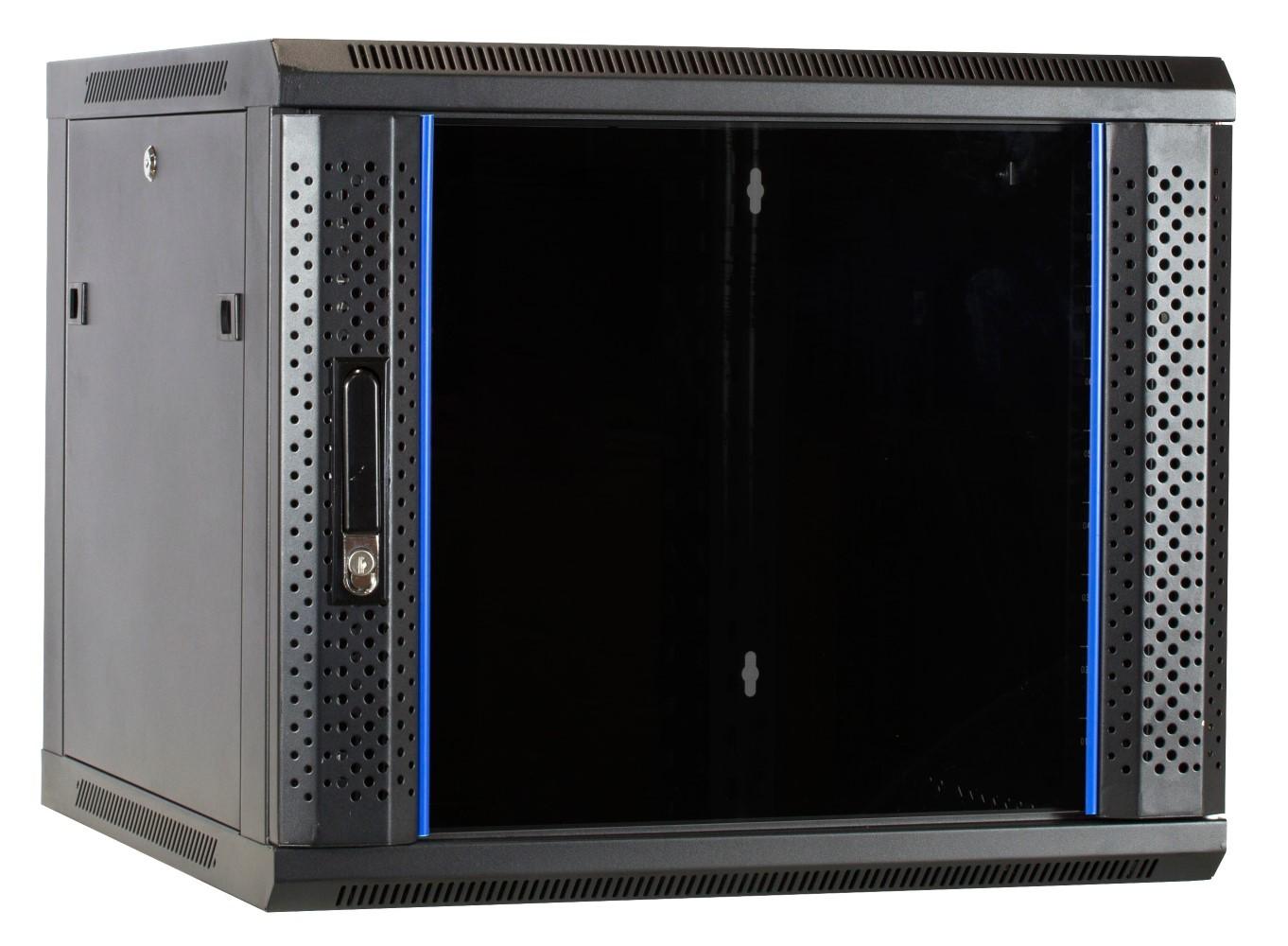 Afbeelding van 9U Wandkast ongemonteerd met glazen deur 600x600x500mm