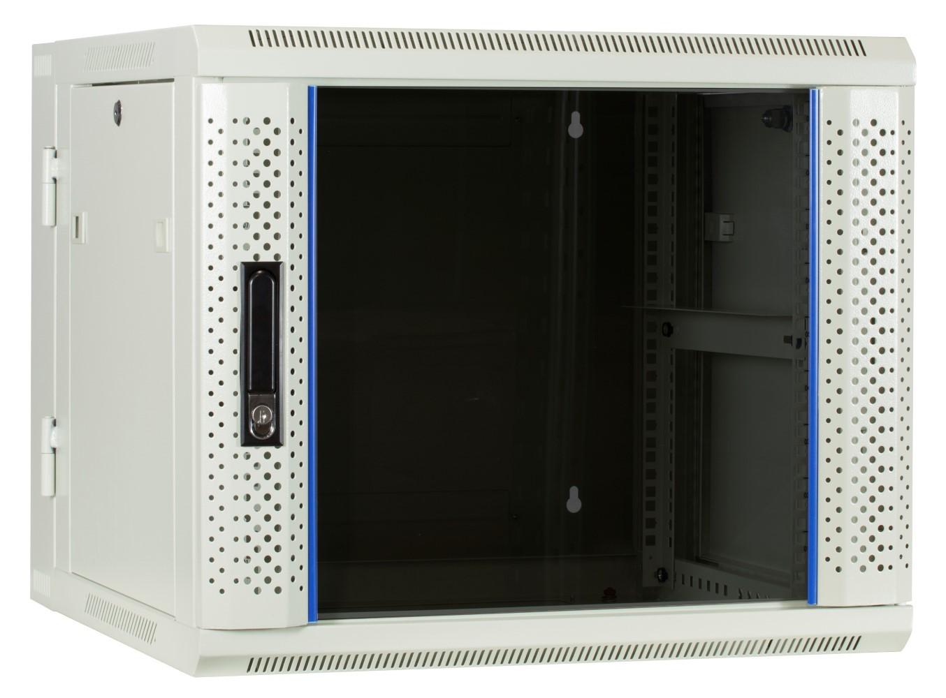 Afbeelding van 9U witte wandkast - kantelbaar met glazen deur 600x600x500mm