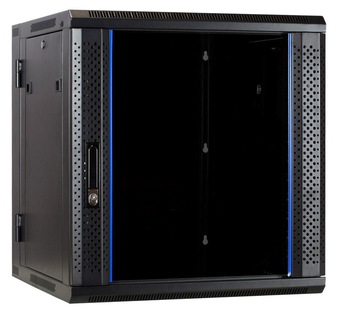 Afbeelding van 12U wandkast - kantelbaar met glazen deur 600x600x635mm