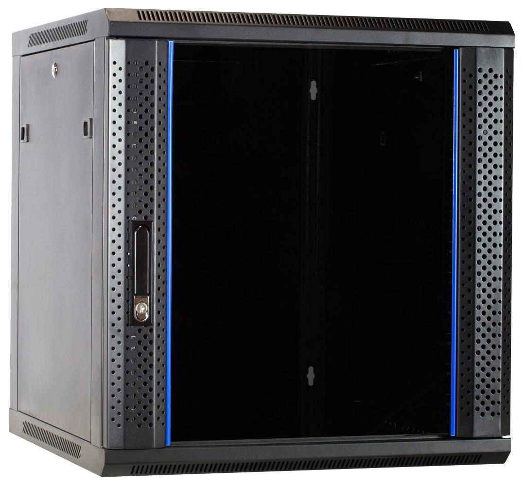 Afbeelding van 12U Wandkast ongemonteerd met glazen deur 600x600x635mm