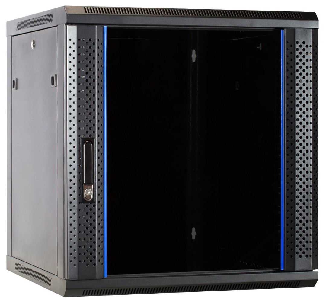 Afbeelding van 12U Wandkast met glazen deur 600x600x635mm