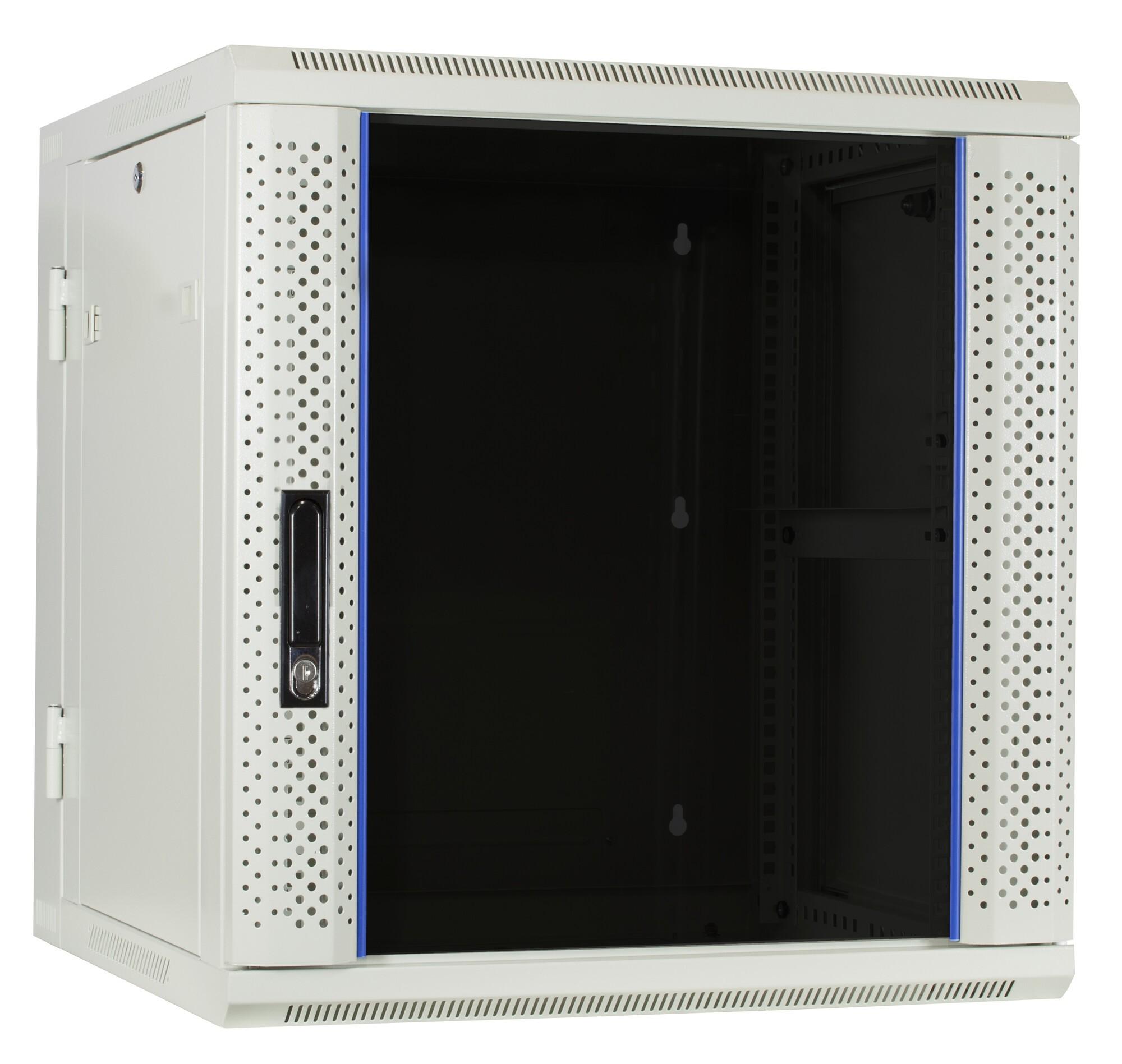 Afbeelding van 12U witte wandkast - kantelbaar met glazen deur 600x600x635mm