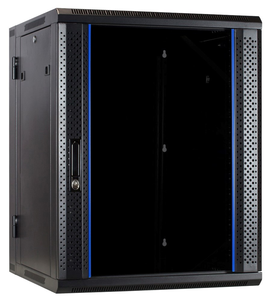 Afbeelding van 15U wandkast - kantelbaar met glazen deur 600x600x770mm