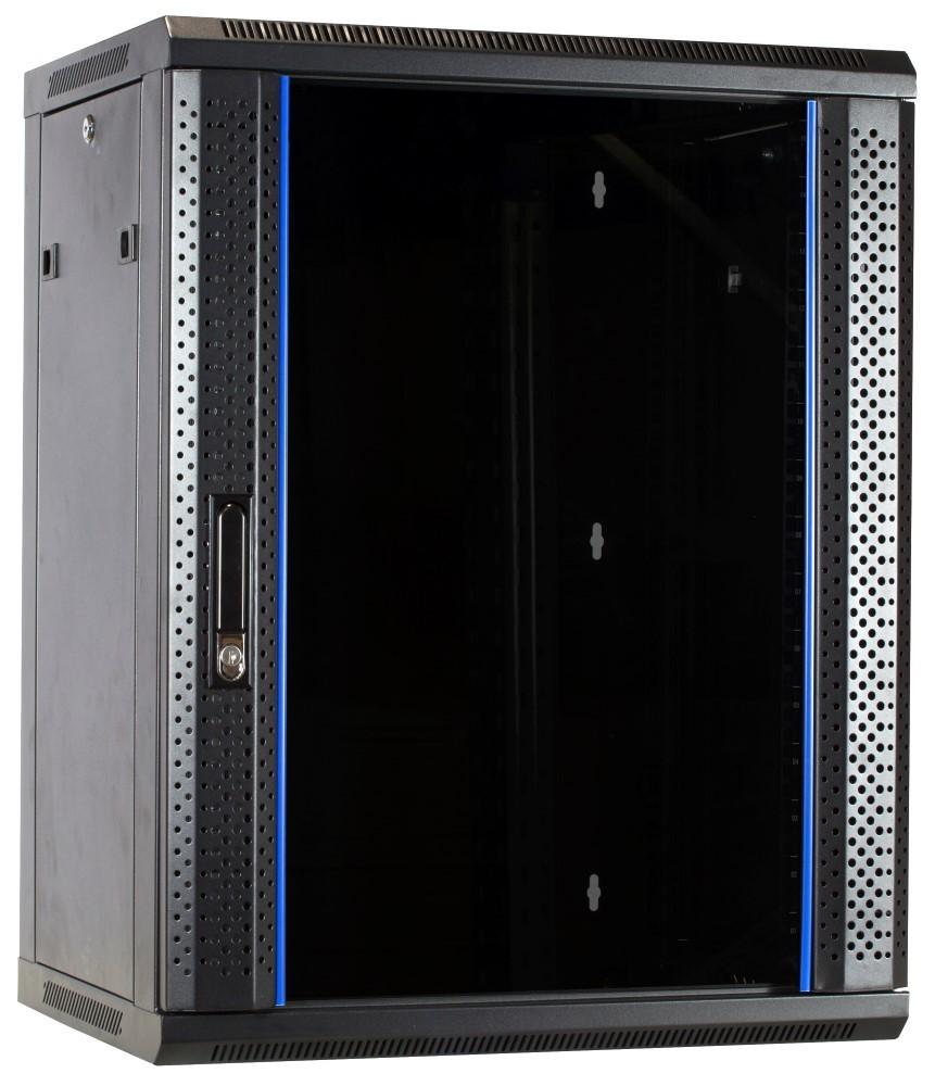 Afbeelding van 15U Wandkast ongemonteerd met glazen deur 600x600x770mm