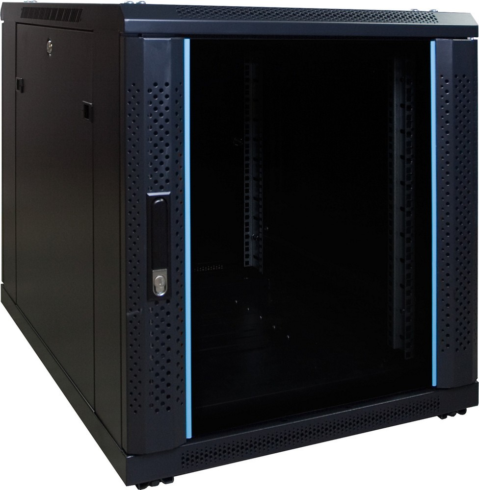 Afbeelding van 12U mini Patchkast met glazen deur 600x800x634mm (BxDxH)
