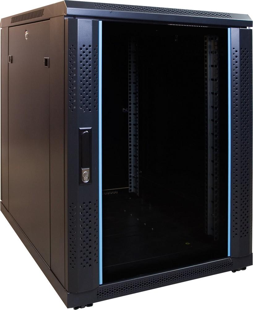 Afbeelding van 15U mini Patchkast met glazen deur 600x800x770mm (BxDxH)