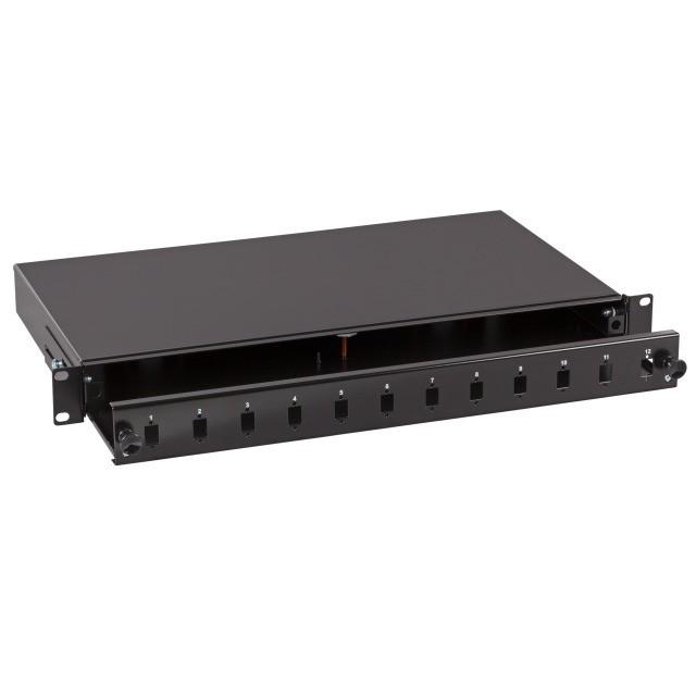 """Afbeelding van 19""""patchpaneel LC/SC/E2000 ongemonteerd 12 poorts uitschuifbaar zwart"""