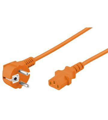 Stroomkabel haaks schuko naar C13 3m oranje