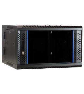 6U wandkast - kantelbaar met glazen deur 600x600x368mm