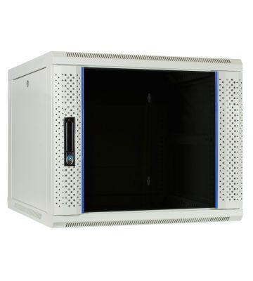 9U witte wandkast met glazen deur 600x600x500mm