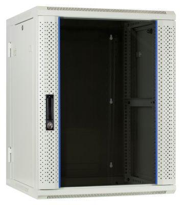 15U witte wandkast - kantelbaar met glazen deur 600x600x770mm