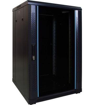 18U Patchkast met glazen deur 600x600x1000mm (BxDxH)