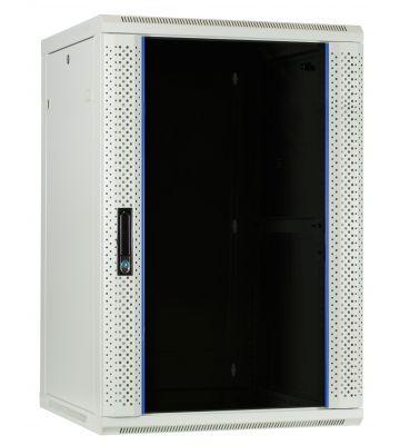 18U witte wandkast met glazen deur 600x600x900mm