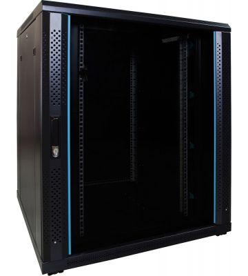 18U Patchkast met glazen deur 800x800x1000mm (BxDxH)
