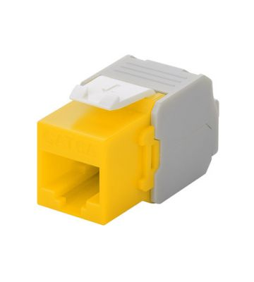 CAT6a UTP Keystone Connector - Toolless - Geel