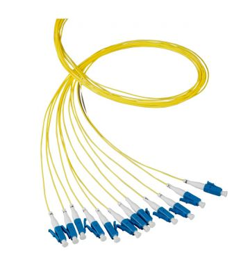 OS2 glasvezel pigtail geel LC/PC - 12 stuks