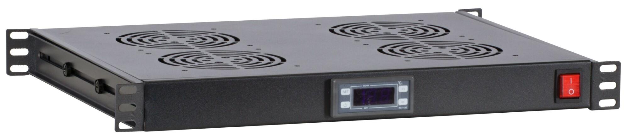 Afbeelding van 1U 19 inch ventilator set met 4st fan voor patchkasten, thermostaat, 230V.