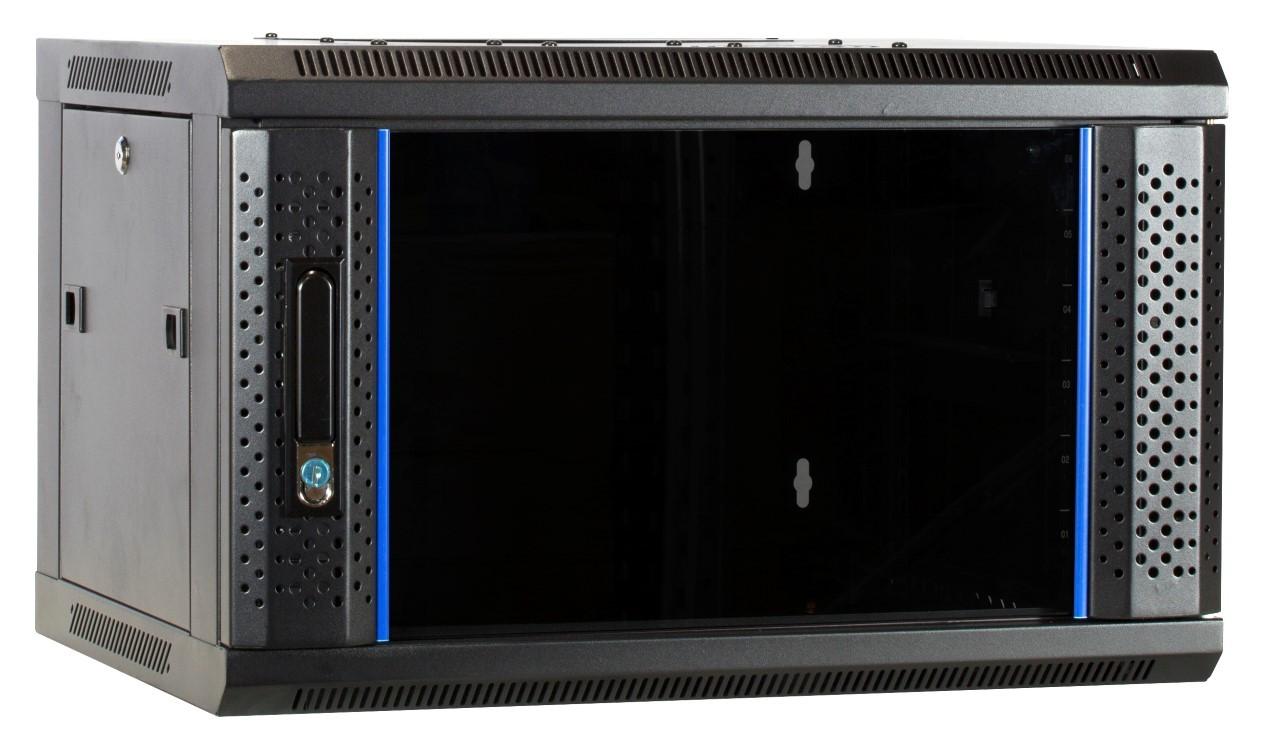 Afbeelding van 6U Wandkast met glazen deur 600x450x368mm