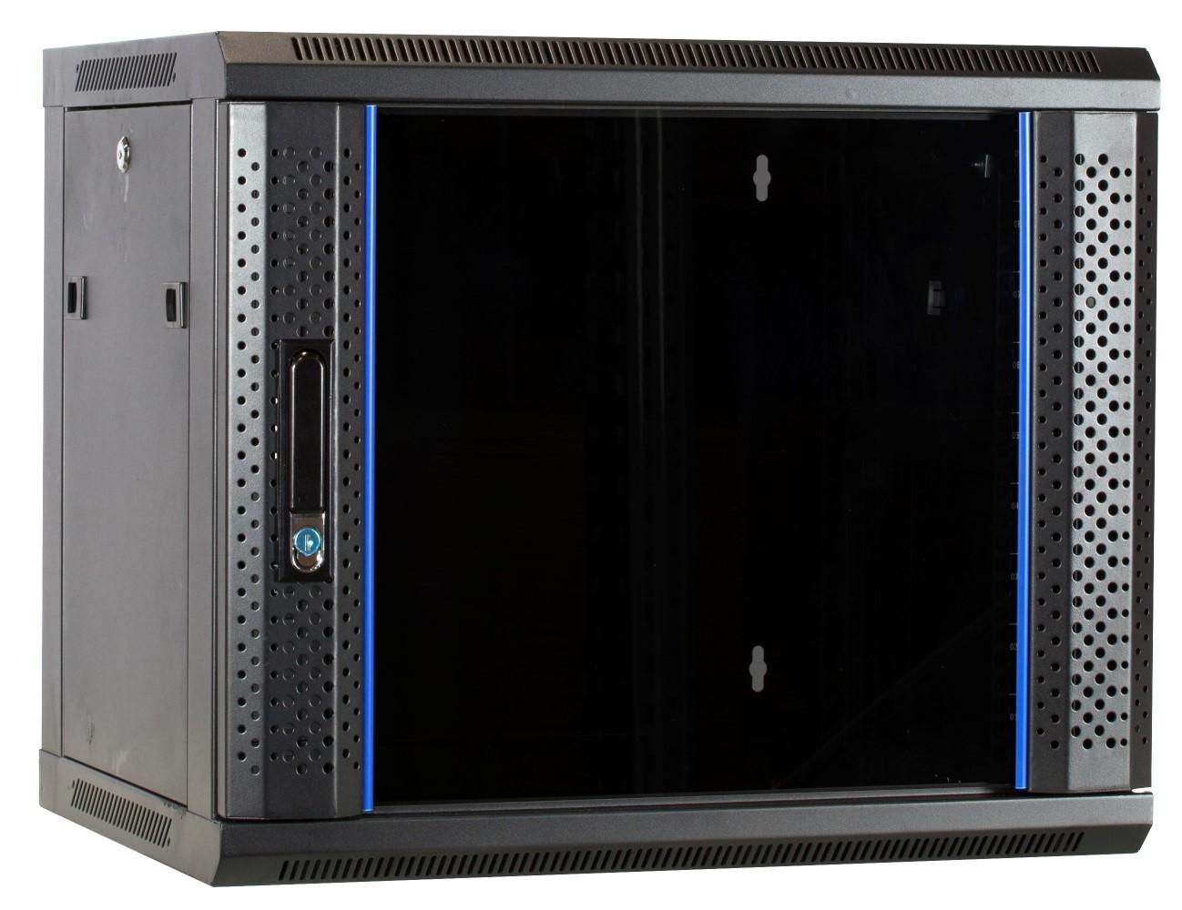 Afbeelding van 9U wandkast ongemonteerd met glazen deur 600x450x500mm