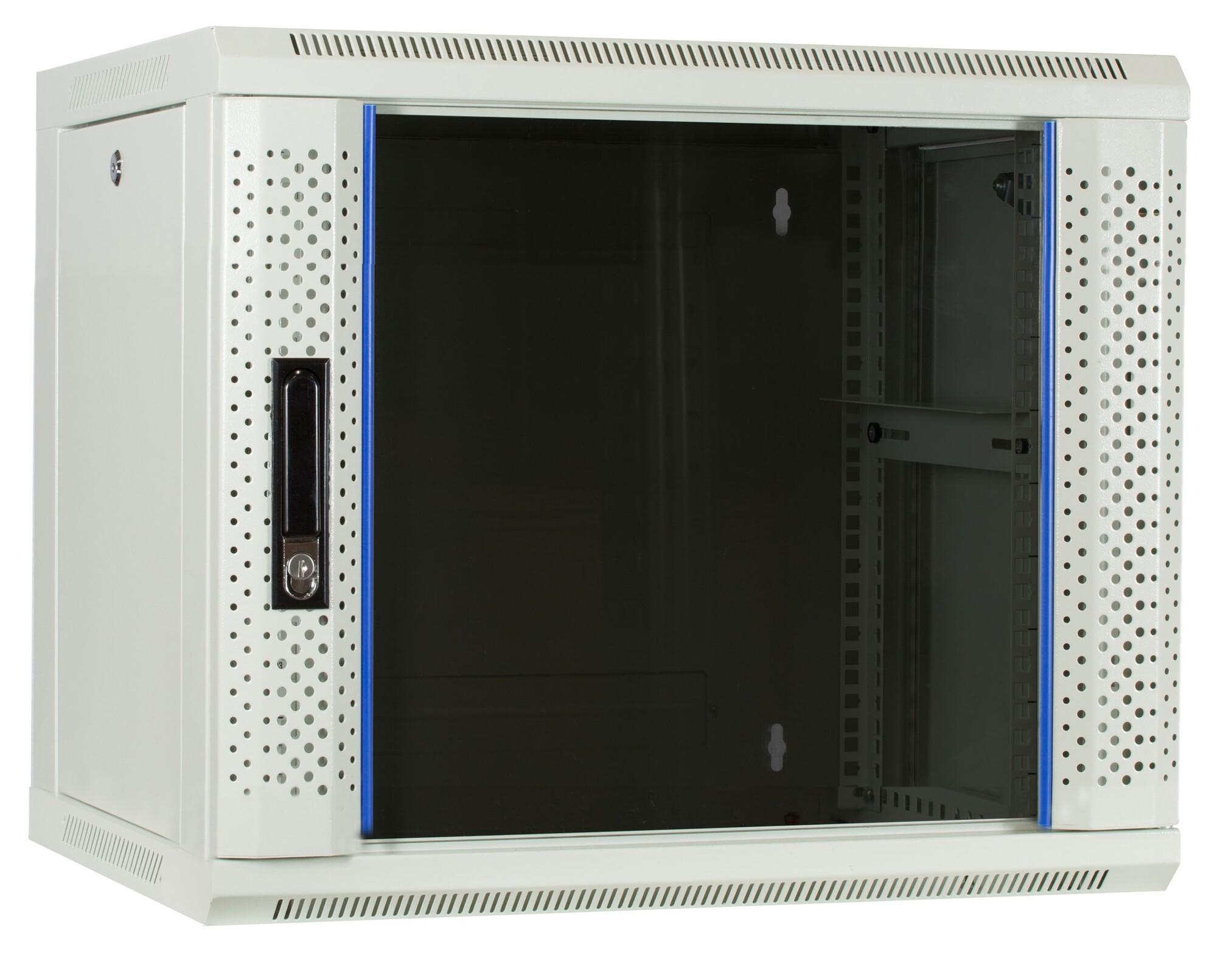 Afbeelding van 9U Witte Wandkast met glazen deur 600x450x500mm